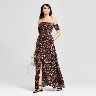 e10f483b35e Womens Floral Print Off the Shoulder Smocked Top Maxi Dress - Xhilaration™  Black XL