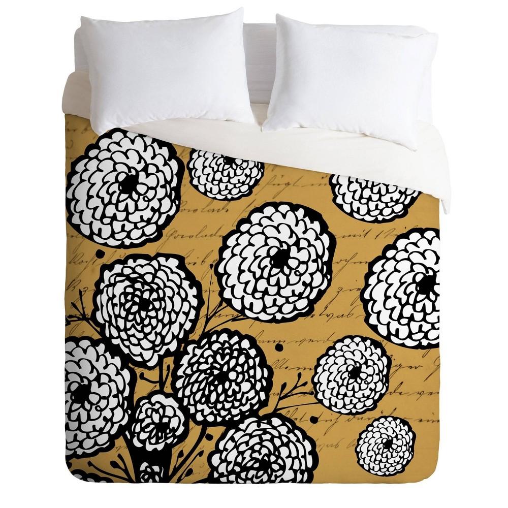 Deny Designs Julia Da Rocha Full Queen Flowery Letter Comforter Set Yellow
