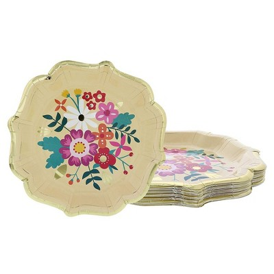 """Blue Panda 24 Pack Floral Disposable Paper Plates Scalloped Edge 9.2"""" Bridal Showers Weddings Party Supplies"""