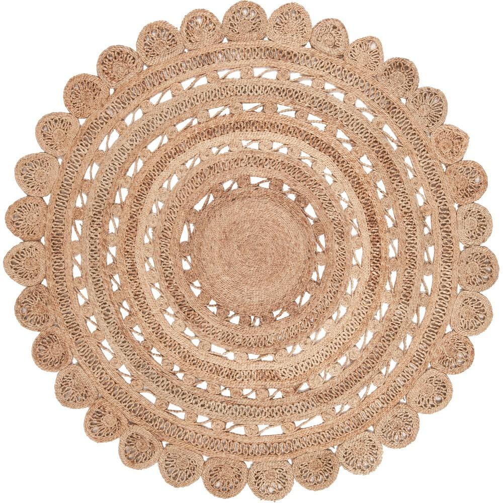 6' Solid Woven Round Area Rug Light Gray - Safavieh, White
