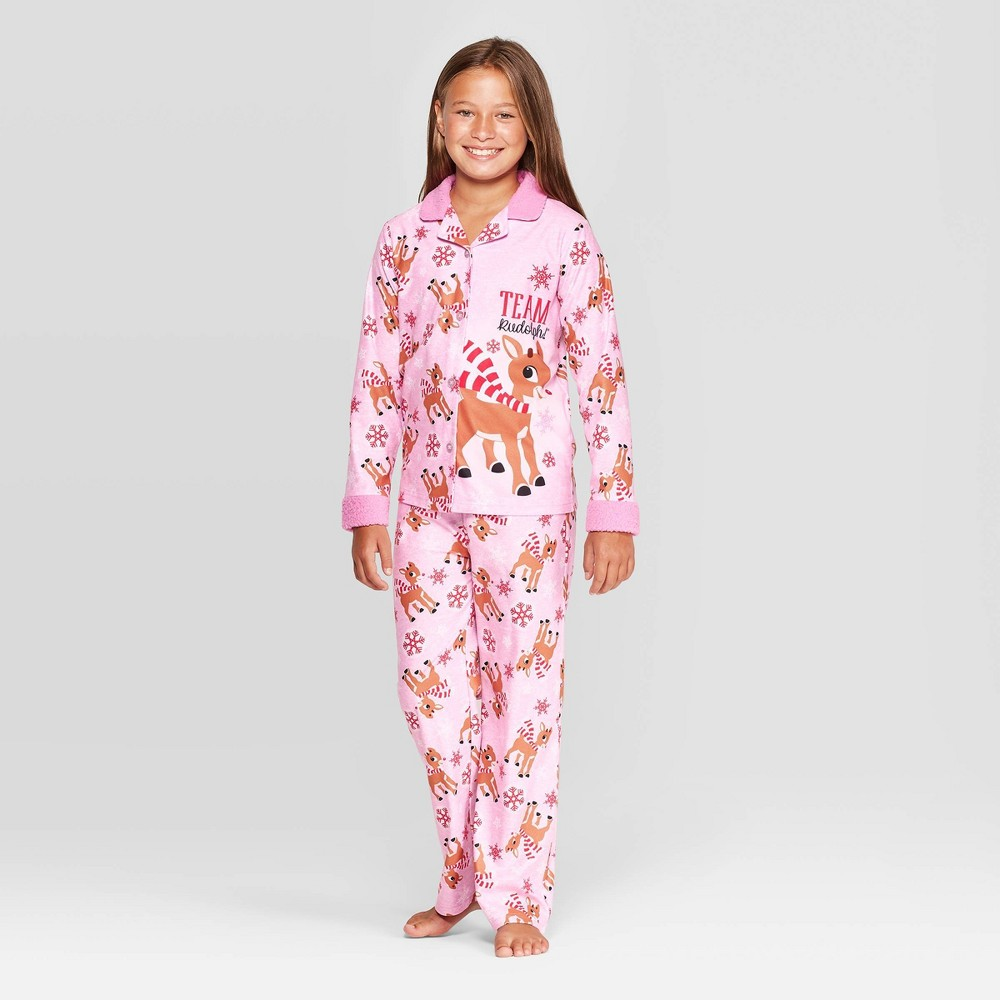 Image of Girls' Rudolph the Red-Nosed Reindeer 2pc Coat Pajama Set - Pink, Girl's, Size: Small, Pink/Red