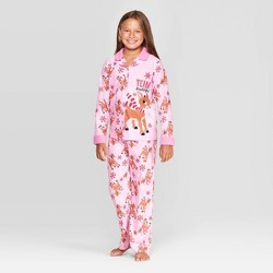 Girls' Rudolph the Red-Nosed Reindeer 2pc Coat Pajama Set - Pink