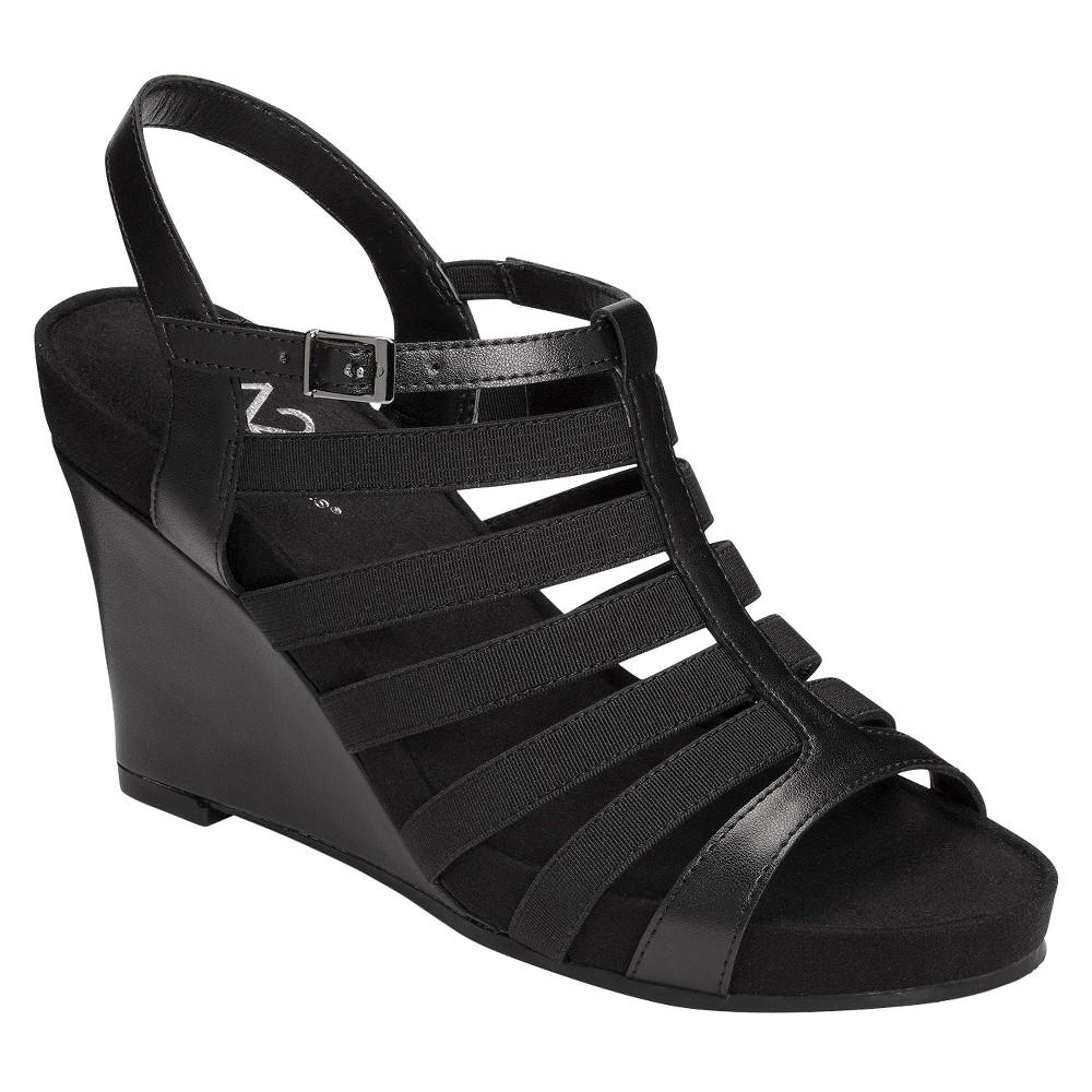 Women's A2 by Aerosoles Magic Plush Multi-Strap Wedge Sandals - Black 12