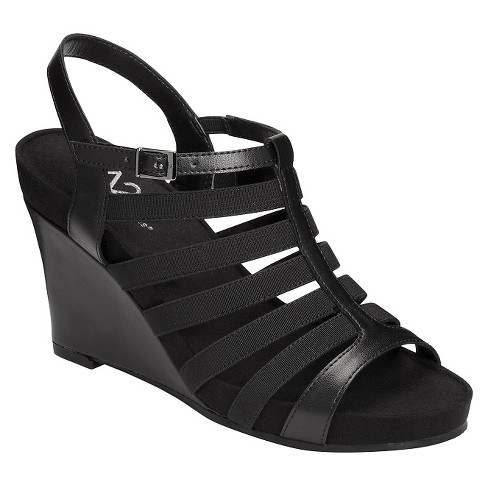 ce3e8849e6cf Women s A2 By Aerosoles Magic Plush Multi-Strap Wedge Sandals - Black 12    Target