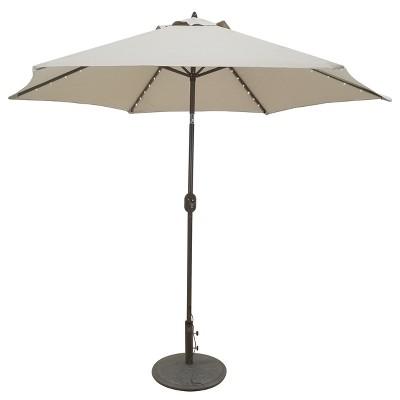 9' Aluminum LED Lighted Crank Lift Patio Umbrella - Galtech