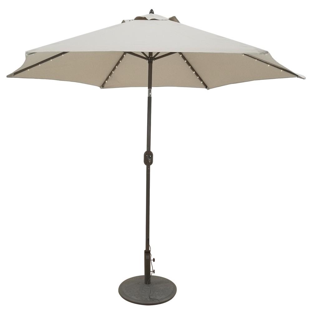 9 Round Lighted Patio Umbrella Beige