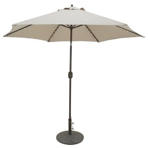 9 Aluminum Led Lighted Crank Lift Patio Umbrella Galtech
