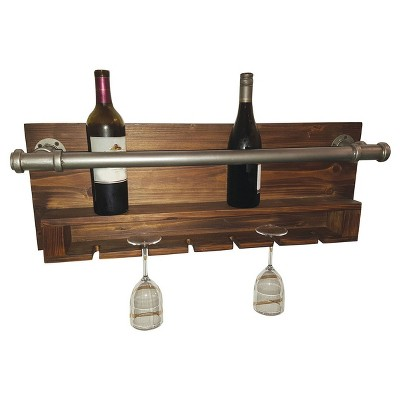 Wall Decor- Industrial Wine Rack - Home Source