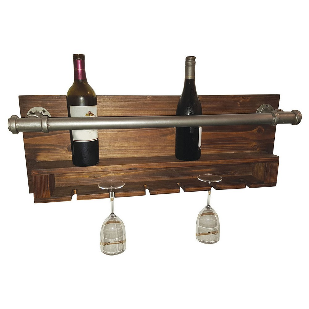 Wall Decor- Industrial Wine Rack - Home Source, Gray