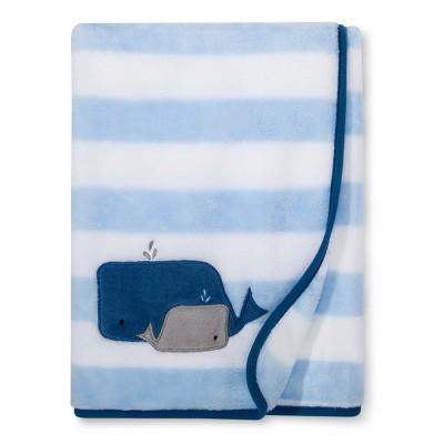 Plush Appliqued Blanket Whales - Cloud Island™ Light Blue