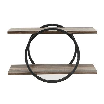 2-Tier Antigua Crossed Double Circle Wall Shelf Unit Black/Rustic - Danya B.