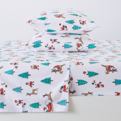 Great Bay Home 100% Cotton Flannel Holiday Printed Sheet Set