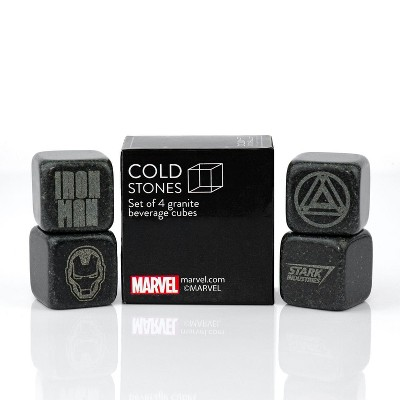 Surreal Entertainment Iron Man Collectible | Marvel Cold Stones Set | Iron Man Granite Beverage Cubes