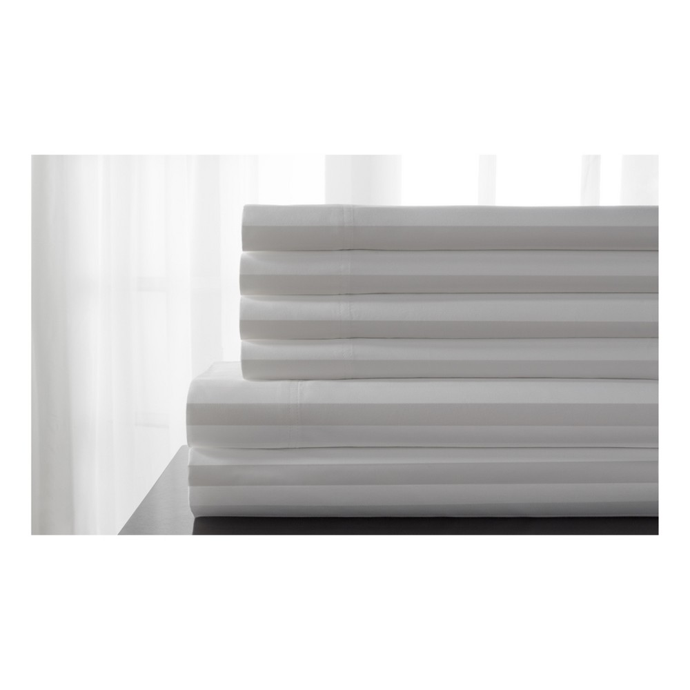 Image of Elite Home 600 Thread Count Delray Damask 6-Pc Sheet Set - White (Queen)