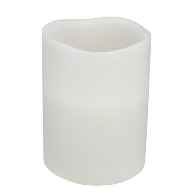 """Northlight 8"""" Prelit LED Battery Operated Flameless 3-Wick Flickering Pillar Candle - White"""