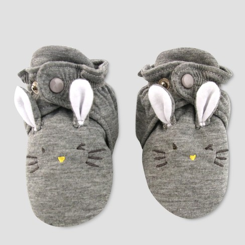 Baby Slipper Socks with Rabbit Face - Cat & Jack™ Gray - image 1 of 3