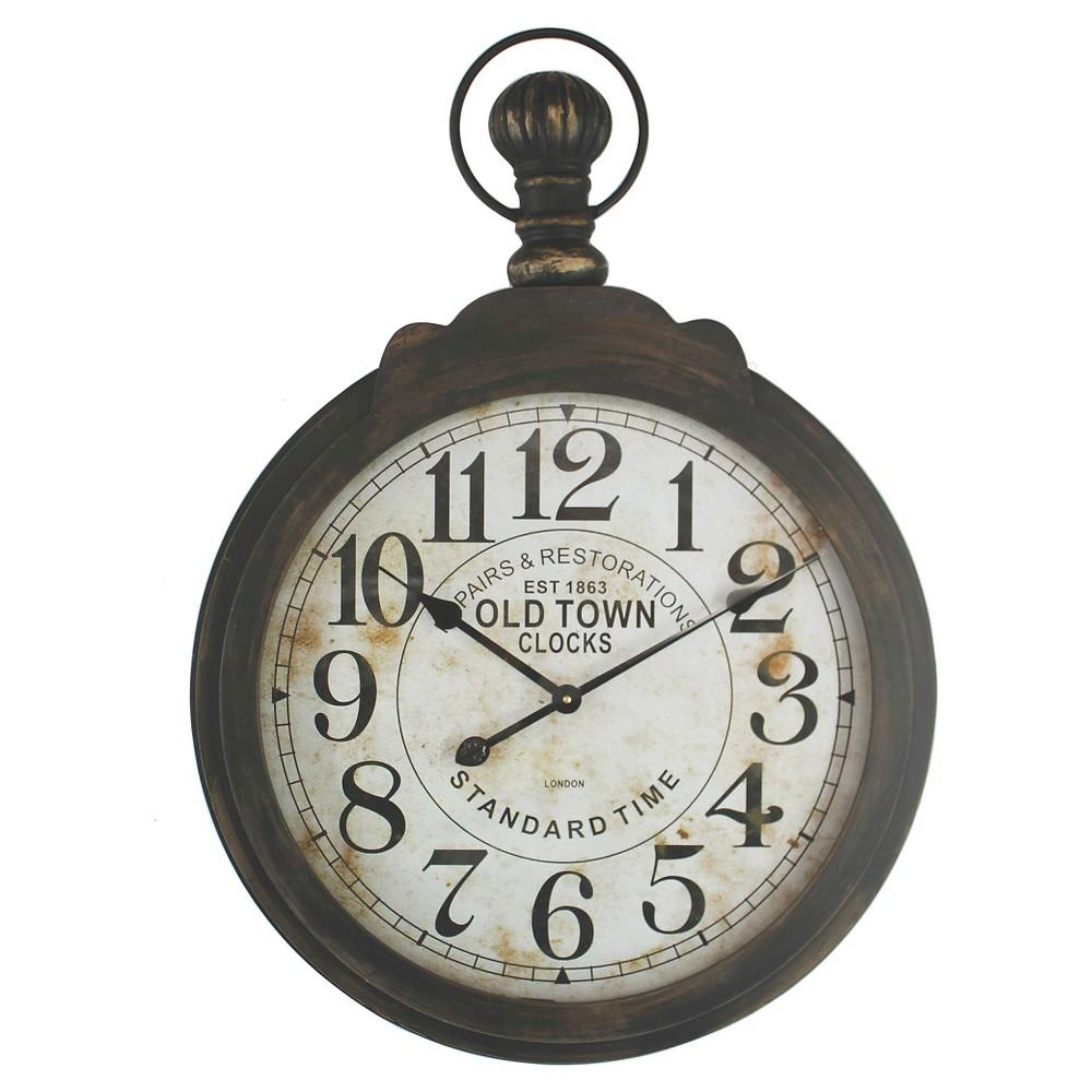 Iron Pocket Watch Clock Wall Clock Brown - Yosemite Home Decor