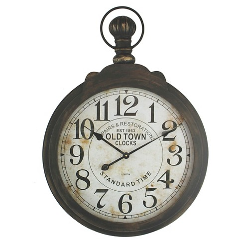 Iron Pocket Watch Clock Wall Brown Yosemite Home Decor