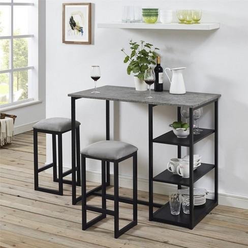 Visby 3 Piece Pub Set With Faux Concrete Top Gray Black Dorel Living Target