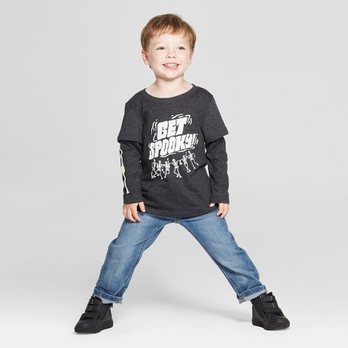 bc67202c0ef1d Toddler Boys  Get Spooky! Long Sleeve Layered T-Shirt - Cat   Jack™ Black    Target