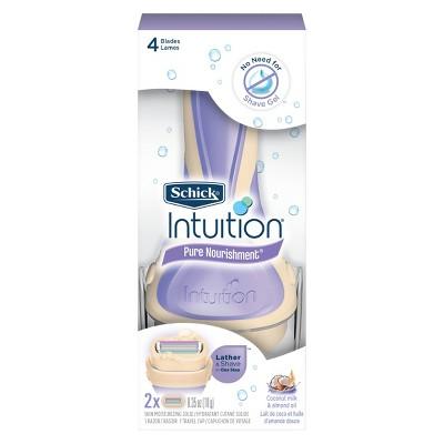 Schick Intuition Pure Nourishment Women's Razor - 1 Razor Handle and 2 Refills
