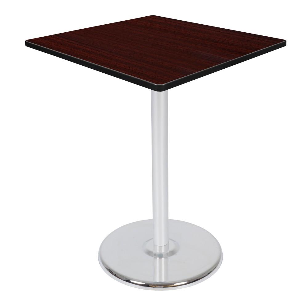 36 Via Cafe High Square Platter Base Table Mahogany/Chrome (Brown/Grey) - Regency