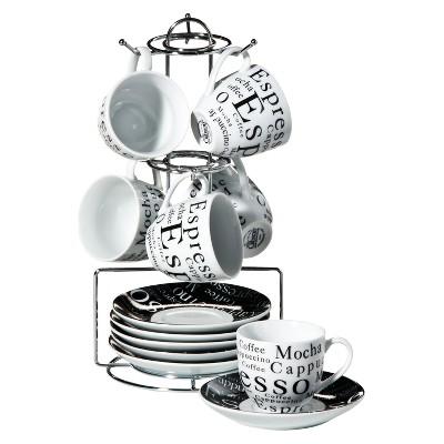 Gibson® Expresso Expressions 32oz 13pc Stoneware Espresso Set Black/White