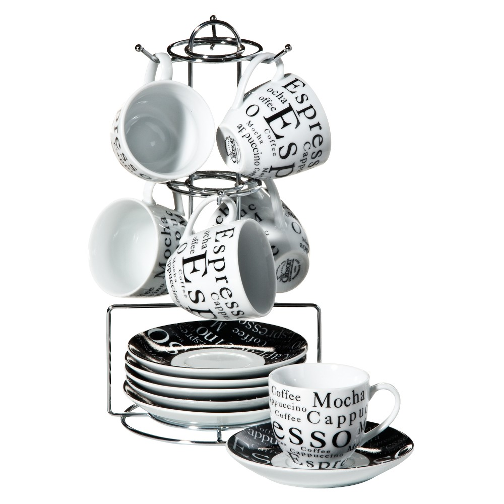Image of Gibson Expresso Expressions 32oz 13pc Stoneware Espresso Set Black/White