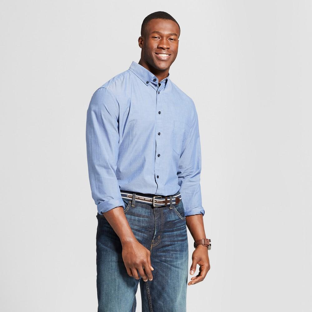 Men's Big & Tall Standard Fit Northrop Long Sleeve Button-Down Shirt - Goodfellow & Co Geneva Blue 3XB