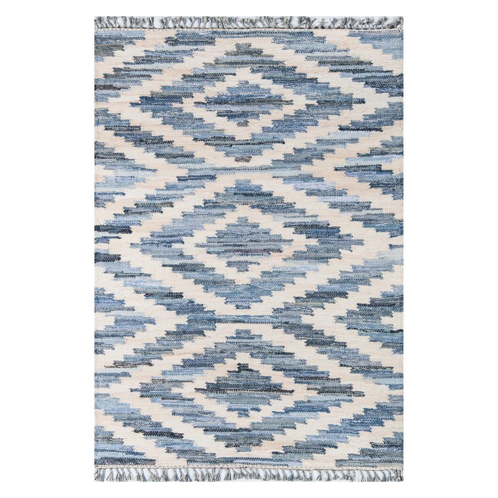 Image of 2'6X4' Geometric Woven Accent Rug Blue - Novogratz By Momeni, Blue White