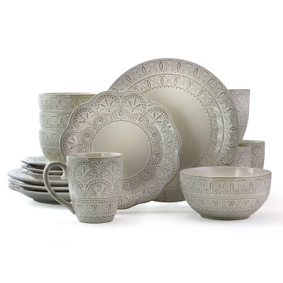 16pc Stoneware Rustic Eyelet Dinnerware Set White - Elama