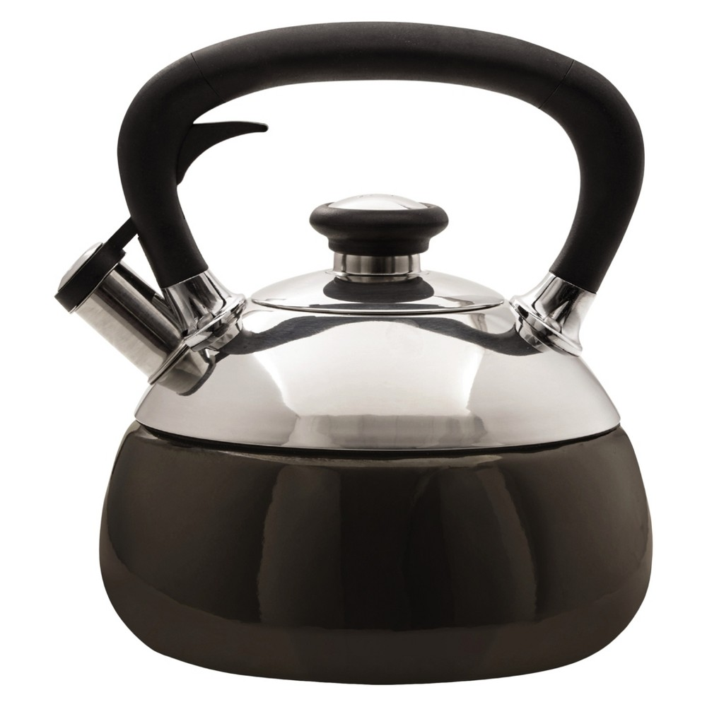 Copco Fusion Tea Kettle - 2 Quarts, Black Enamel on Stainless Steel (Silver)