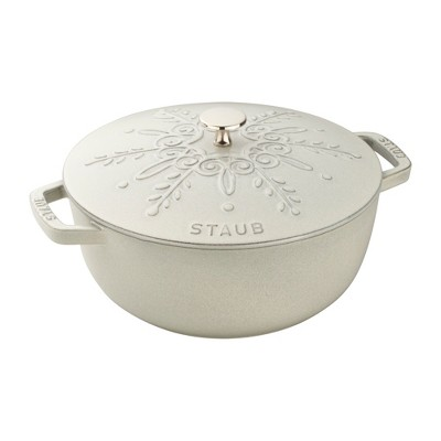 Staub Cast Iron 3.75-qt Essential French Oven with Snowflake Lid - White Truffle