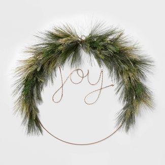 Lit LED Wire Christmas Wreath JOY - Wondershop™