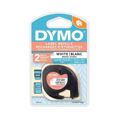 DYMO LetraTag Paper Label Tape Cassette Black on White .5  x 13' 2ct