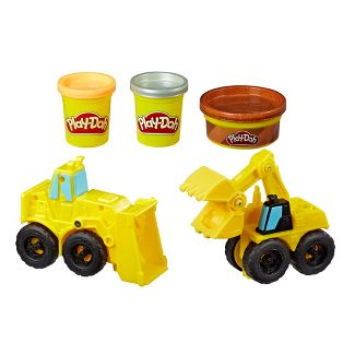 Play-Doh Wheels Excavator and Loader Toy Construction Trucks with Non-Toxic Play-Doh Sand Buildin Compound Plus 2 Additional Colors