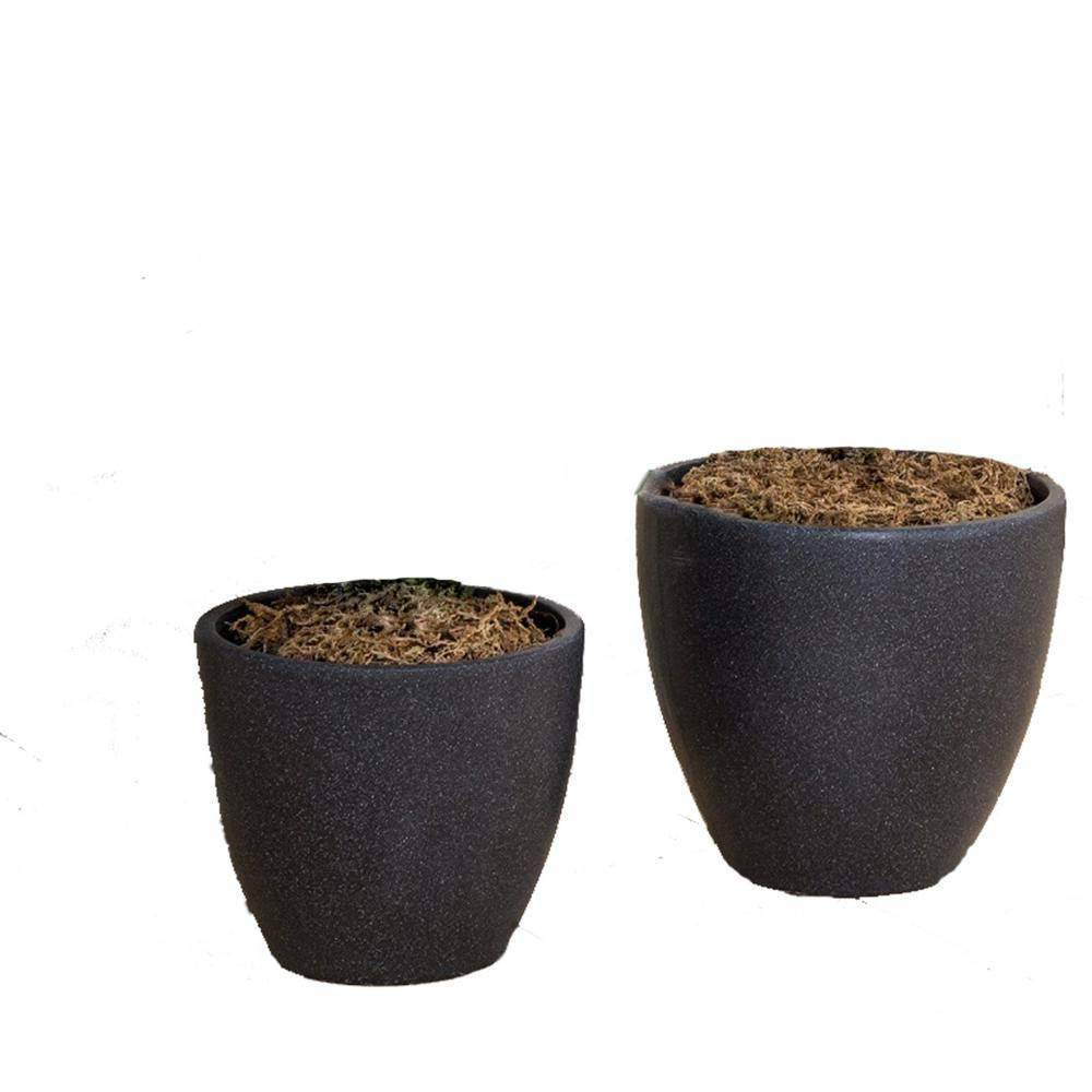 Image of 2pc Nested Clay Flower Planter Pot Black - XBrand