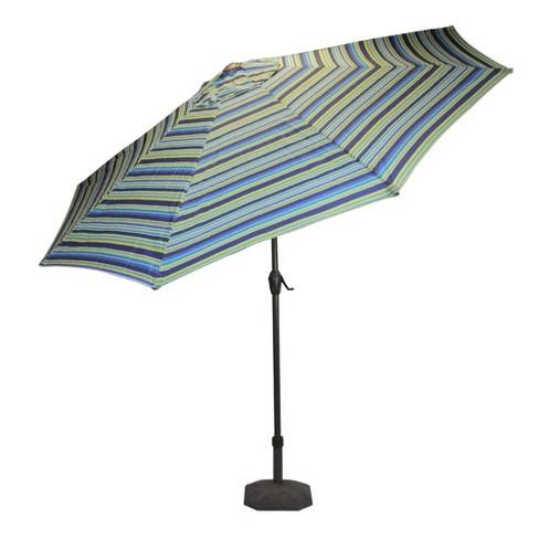 Lb International 9 Octagon Striped Outdoor Patio Market Umbrella With Hand Crank And Tilt Blue Target