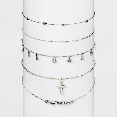 Cross and Charms Multi Choker Set 5pc - Wild Fable™ Silver