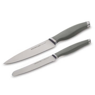 Rachael Ray 2pc Stainless Steel Utility Knife Set Gray