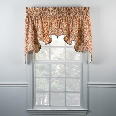 "Ellis Curtain Donnington 2-Piece High Quality Room Darkening Solid Natural Color Classic Print Duchess Window Valance - (100""x30"")"