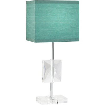 """360 Lighting Modern Accent Table Lamp 18"""" High Square Crystal Teal Blue Rectangular Shade for Bedroom Bedside Nightstand Office"""