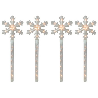 Northlight 4ct Snowflakes Christmas Pathway Marker with Lawn Stakes - Clear Lights