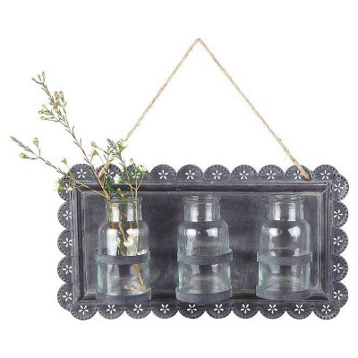 Tin Wall Décor with Glass Vases - 3R Studios