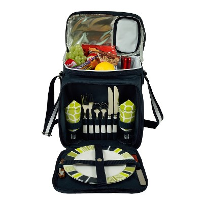 Picnic at Ascot Insulated Picnic Basket/Cooler Fully Equipped with Service for 2 - Trellis Green