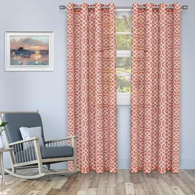 Printed Honey Comb Sheer Grommet-Top Curtain Panels by Blue Nile Mills