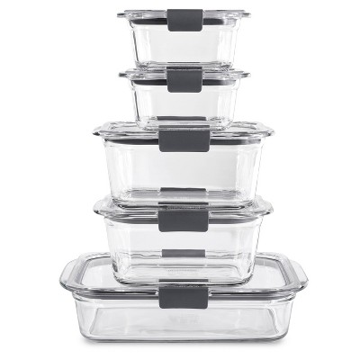 Rubbermaid 10pc Brilliance Glass Food Storage Set