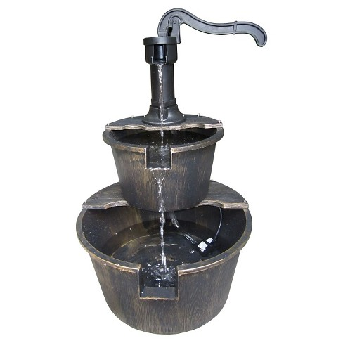"Alpine Corporation 27"" Two Tier Barrel And Pump - Bronze Fountain - image 1 of 7"