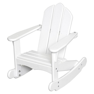 Little Colorado Solid Wood Easy Assembly Kids Classic Adirondack Rocking Lounge Chair for Indoor Play or Outdoor Furniture Use, White