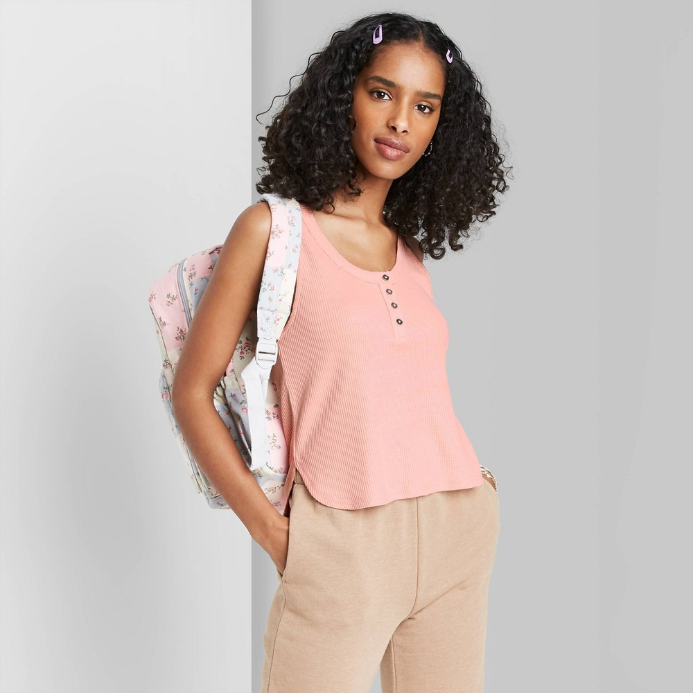 Women 39 S Button Placket Waffle Tank Top Wild Fable 8482 Blush Pink L